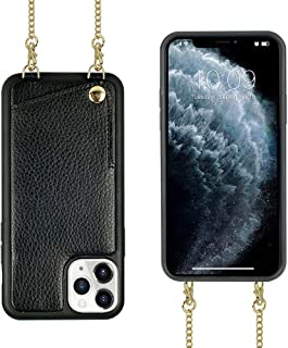 JLFCH iPhone 11 Pro Max Crossbody Case, iPhone 11 Pro Max Wallet Case with Card Slot Credit Card Holder Crossbody Strap Shoulder Chain Cover for Apple iPhone 11 Pro Max 6.5 inch - Black
