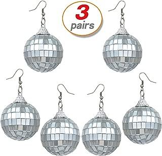 Yo-fobu 3 Pairs Disco Earrings Silver Ball Earrings Women's Costume Accessories