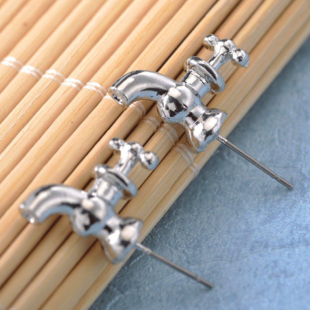 bjduck99 Women Fashion Water Faucet Tap Shape Ear Studs Earrings Jewelry Accessories