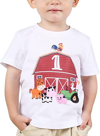 1st Birthday T-Shirt Baby Boy Toddler Farm Animal One 1 Year Old B-Day Tee Gift