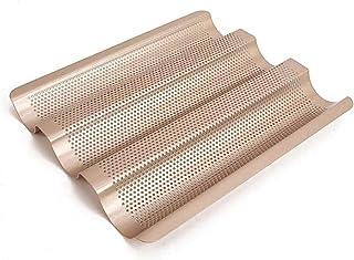ZHEYANG Moule à chocolat anti-adhésif à 3 emplacements pour baguettes et baguettes en acier aluminé perforé