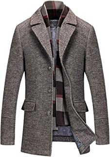 INVACHI Men's Slim Fit Winter Warm Short Wool Blend Coat Business Jacket with Free Detachable Soft Touch Wool Scarf