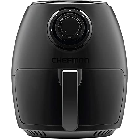 Chefman TurboFry 3.5 Liter/3.6 Quart Air Fryer Oven w/Dishwasher Safe Basket and Dual Control Temperature, 60 Minute Timer and 15 Cup Capacity, BPA-Free, Matte Black, Cookbook Included (Renewed)
