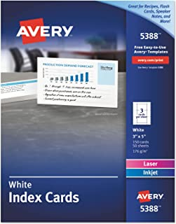 Avery 5388 Laser/Inkjet Index Cards, Perforated, 3-Inch x5-Inch, 150/BX, White