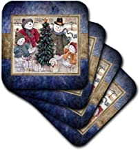 3dRose CST_34111_3 Snowman Family-Ceramic Tile Coasters, Set of 4