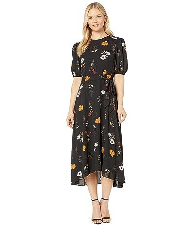 Donna Morgan Floral Printed Elbow Sleeve High-Low Georgette Dress (Black/Burnt Orange Multi) Women