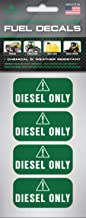 Diesel Stickers and Decals – Super-Strong Adhesive and Weather-Resistant – 4 Pack of 2 x 1 inch Commercial Grade for Truck, Tractor, Farm Equipment and Machinery – Ultra Durable Diesel Only Labels