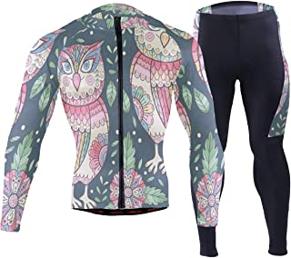 Chu warm Cute Flower OwlsMens Cycling Jersey Suit Long Sleeve Outdoor Biking Shirts Trousers Skinsuits Outfit