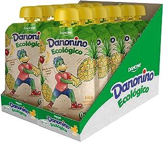 Danonino Pouch sin azúcares añadidos: Alimento Infantil Ecológico con Piña, Manzana Y Plátano - 12 Unidades de 90g