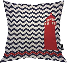 Moslion Throw Pillow Cover Lighthouse 18x18 Inch Nautical Red Chevron Blue Wave Fashion Square Pillow Case Cushion Cover for Home Car Decorative Cotton Linen