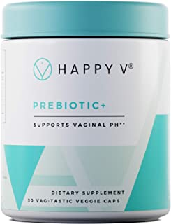 Happy V Prebiotic + - The Best Boost for Vaginal Probiotic Supplements - Supports Growth of Beneficial Bacteria - 30 Count