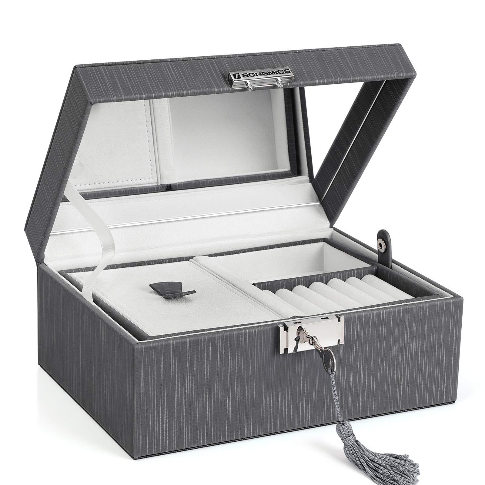 SONGMICSダブルジュエリーボックス、折りたたみ式トレイ付きロック式ジュエリー収納ボックス、取り外し可能なパーティション、厚手の額縁、恋人へのプレゼント、グレーUJBC232GY