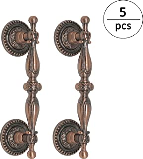 (5pack) Antique Copper Cabinet Hardware Pulls 3 1/2inch 90mm Hole Centers Vintage Cabinet Pulls and Knobs 125mm 5inch Length Copper Drawer Pulls Chest Dresser Handles
