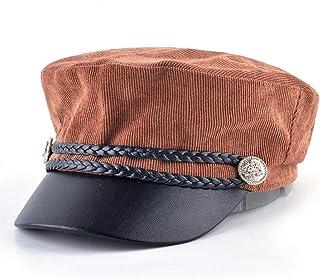 e98a3a6ce21 UKURO Women Corduroy Military Cap Spring Autumn Newsboy Twist Braiding  Button Flat Beret Hat PU Visor