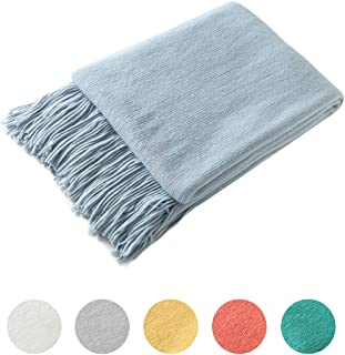 Homiest Decorative Knitted Throw Blanket with Fringe Soft & Cozy Tassel Blanket for Couch Sofa Bed (Light Blue,50x60)