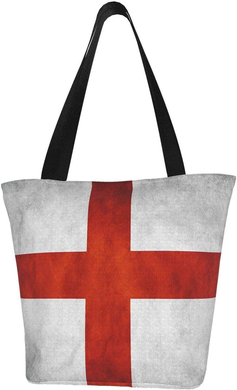 England Flag Cross White Red Vintage Themed Printed Women Canvas Handbag Zipper Shoulder Bag Work Booksbag Tote Purse Leisure Hobo Bag For Shopping