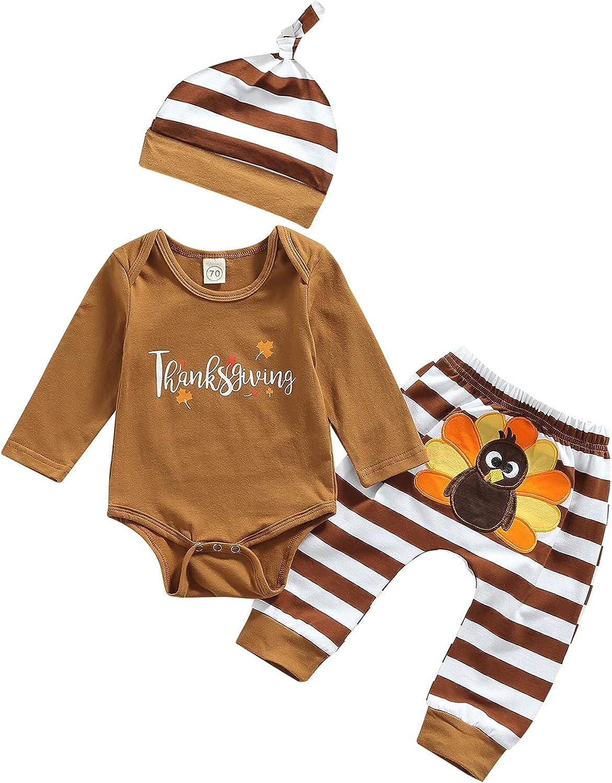Thanksgiving Baby Boy Girl Newborn Outfits, Unisex Infant Little Turkey Clothes Set Winter Cotton Romper Hat Pants 3PCS