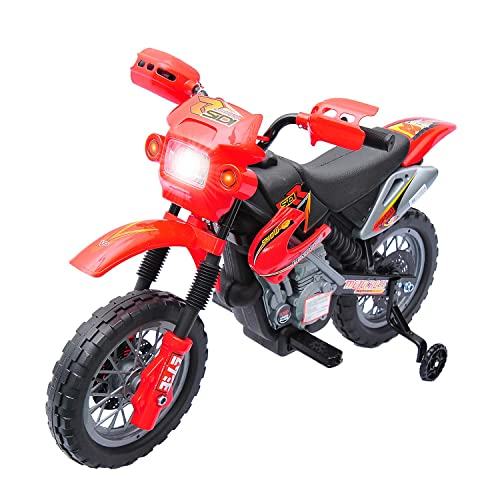 Qaba 6V Kids Electric Battery-Powered Ride-On Motorcycle Dirt Bike Toy with Training Wheels Red
