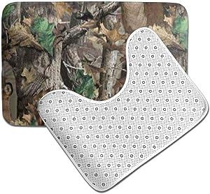 HRHT Realtree Camo Wallpapers 2 Piece Bathroom Rug Set, Non Slip Bath Mats and Contour Bath Rug Combo