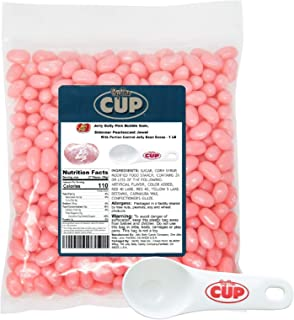 Jelly Belly Jelly Beans - Pink Bubble Gum Shimmer Pearlescent Jewel 1 Pound Bag - with By The Cup Portion Control Jelly Bean Scoop