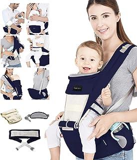 Azeekoom Babytrage Ergonomische, Kindertrage mit Hüftsitz, Befestigungsgürtel, Lätzchen, Schultergurt, Kopfbedeckung für Neugeborene bis Kinder von 3 bis 48 Monaten Dunkelblau