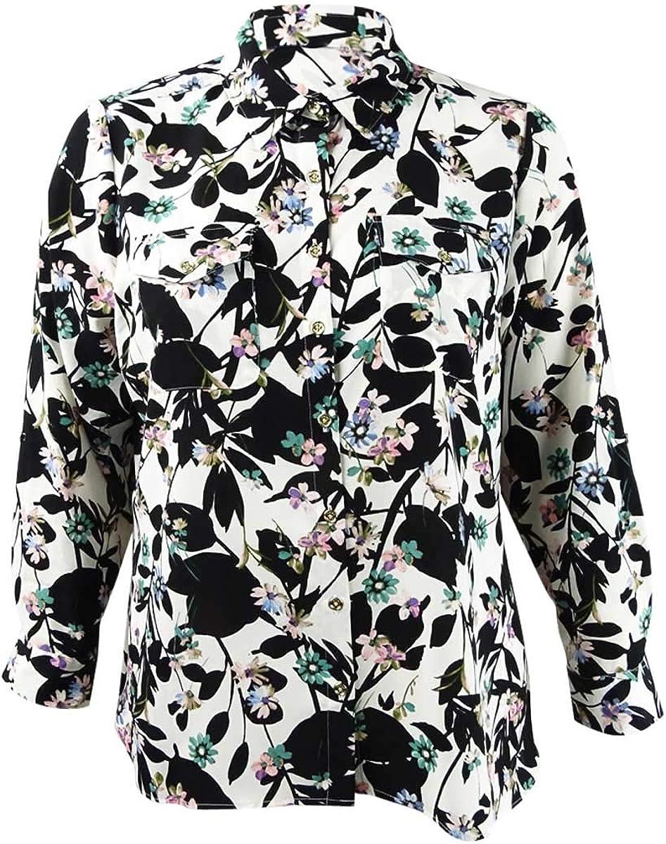 Tommy Hilfiger Women's Button Down Blouse Plus Floral Black 3X