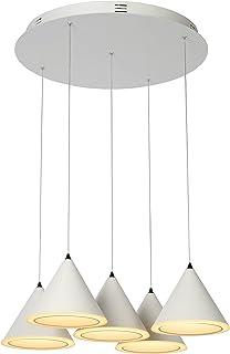 Lucide 36418/40/31 Torben LED Suspension, Métal, intégré, 8 W, Blanc, 48 x 48 x 200 cm
