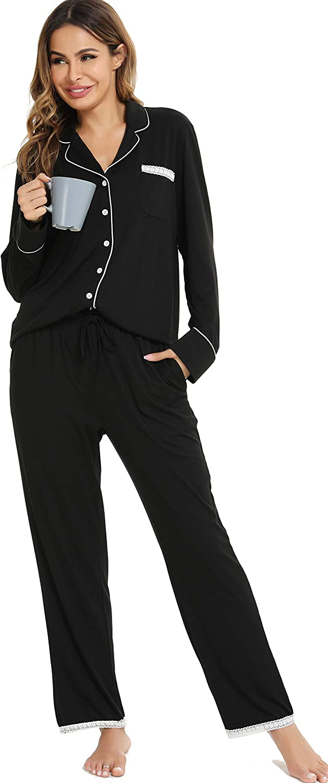 Vlazom 2021 model Women's Pajamas Set Two Pieces Pjs Limited time sale Tops Down Sets Button