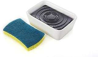 Full Circle Bubble Up Ceramic Soap Dispenser & Scrubber Sponge Set, White, Blue, Dispenser & Sponge