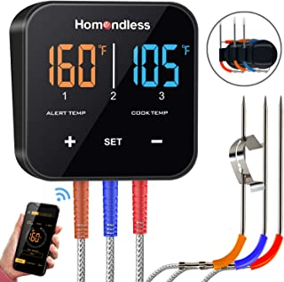 Bluetooth Meat Thermometer Digital Wireless BBQ Thermometer APP Controlled, 3 Probes, Auto Pairing, 2 Modes Monitor, Perfect for Oven Smoker Grill Kitchen Food Cooking, Support iOS & Android