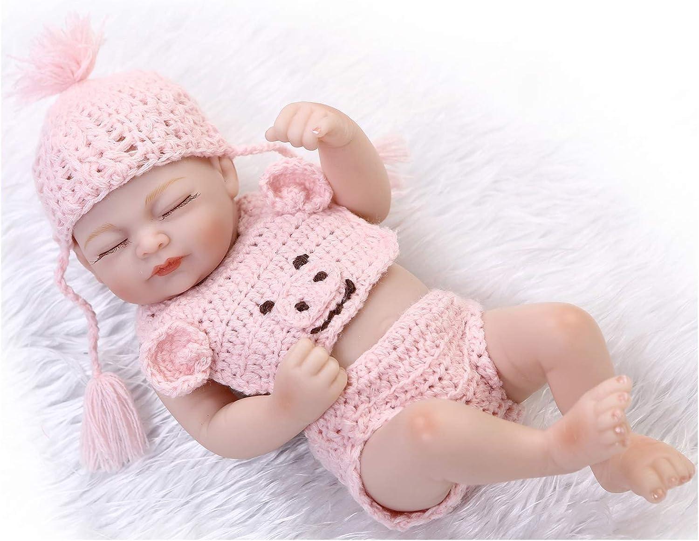 IIWOJ Reborn Baby Doll, 26cm Mini Simulation Eyeclosed Silicone Doll Cute Realistic Photography Props