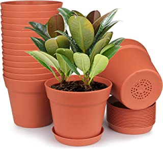 HOMENOTE Plant Pots, 15 Pack Terra Plastic Flower Pots Outdoor Garden Planters with Multiple Drain Holes and Saucer - 6 in...