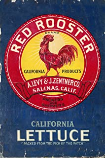 Red Rooster Vegetable - Vintage Crate Label (16x24 Fine Art Giclee Gallery Print, Home Wall Decor Artwork Poster)