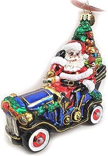 Christopher Radko Santa Merry Motoring in Retro Model-T Style Car Glass Ornament made in Poland