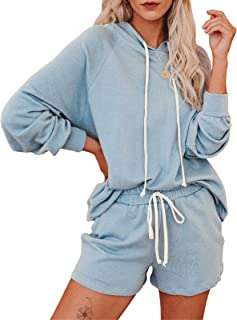 Byinns Womens Pullover Hoodies Sweatshirt Tops Long Sleeve Striped Color Block Stitching Drawstring Knit Casual Loose Blouse