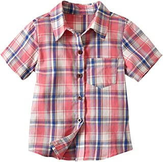 LvRao Short Sleeve Plaid Blouse for Toddler Baby Boys Checkered Shirt Button Down Casual Shirts with Pockets
