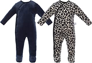 2 Packs Baby Boy Footies Romper, Long Sleeves NewBorn Toddler Bodysuit Warm Infant Outfit Fleece Footed Sleep and Play