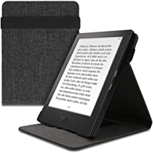 kwmobile Cover Compatible with Kobo Aura H2O Edition 1 - Fabric e-Reader Case with Hand Strap and Stand - Fabric Dark Grey