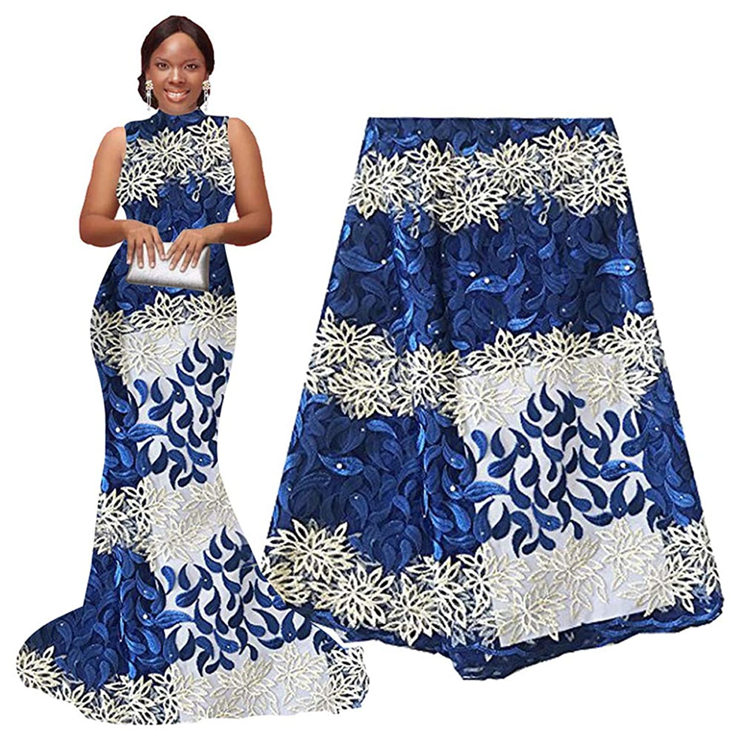 pqdaysun African Lace Fabric 5 Yards 2019 Nigerian Wedding Lace Wax Fabric Rhinestones Beading French Lace F50624 (Royal Blue)