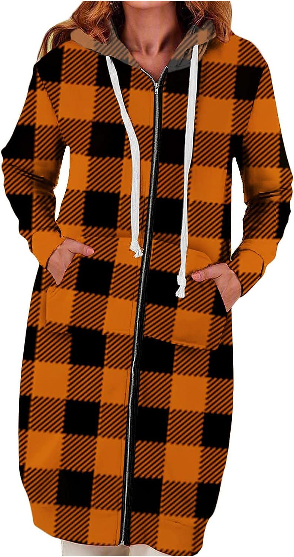 Winter Coat for Women Plaid Drawstring Zipper Long Sleeve Warm Lined Hoodie Oversize Jacket Comfy Outwear