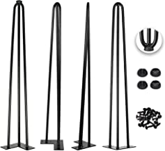 28 Inch Hairpin Legs 1/2 Inch Tick - Satin Black - Leg Protectors, Screws, Set of 4 – Easy to Install - Metal Legs - Desk Legs - Furniture Legs - Mid Century Modern by Homeland Hardware