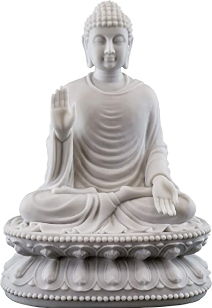 Top Collection 9 H 6 5 W Shakyamuni Buddha Statue In White Marble Finish The Enlightened One Sculpture