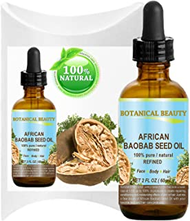 BAOBAB SEED Oil AFRICAN. 100% Pure / Natural / Undiluted/ Refined Cold Pressed Carrier Oil. For Skin, Hair, Lip and Nail Care. 2 Fl. oz. - 60 ml.
