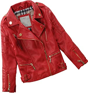 Child's Spring Autumn Lapel Motorcylce Faux Leather Jacket Multicolor