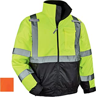 High Visibility Reflective Winter Bomber Jacket, Black Bottom, ANSI Compliant, Ergodyne GloWear 8377