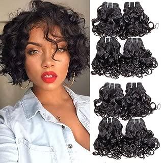 Brazilian curly hair 8 bundles Short Spiral Curl human hair bundles Unprocessed Ocean Wave Hair Wet and Wavy Human Hair Bundles curly bob weave hair Extensions Total 200g
