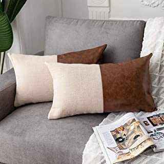 DEZENE 2 Pack Faux Leather with Cotton Linen Small Lumbar Decorative Throw Pillow Covers for Couch Sofa Car, Accent Rectangular Pillow-Cases for Cushion Covers, 12 x 20 Inch