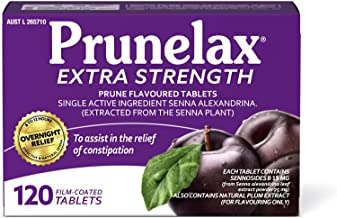 Prunelax Tablets 120 Tablets- Extra Strength Natural Laxative Supplement. High Strength Senna for Constipation Relief