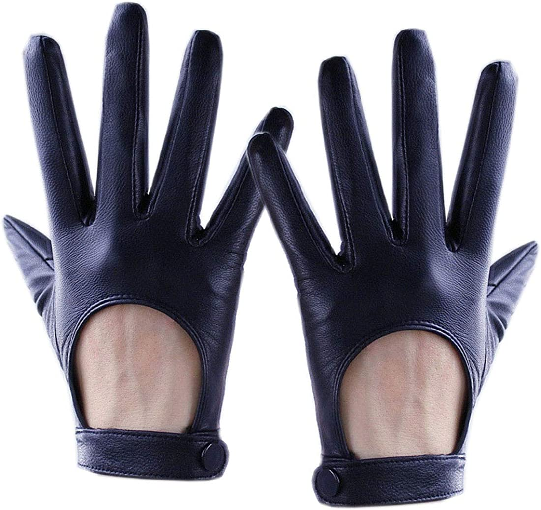 Women Tech Gloves Real Leather Short Black Lambskin Sheepskin Belt with Button Closure Motorcycle gloves