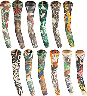 12 Pieces of Cooling Tattoo Arm Sleeves Cover- Seamless UV Protection Arm Sleeves Cover Temporary Tattoo Printing Sun Sleeves Cover for Men Women Biking Gardening Driving Fishing Golf Hiking